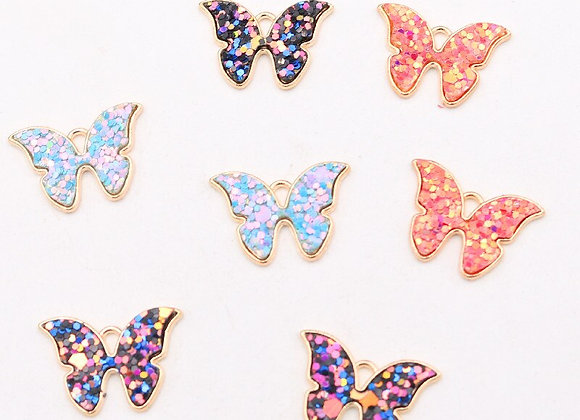 6pcs Color Sequin  Butterfly Pendants  DIY Jewelry