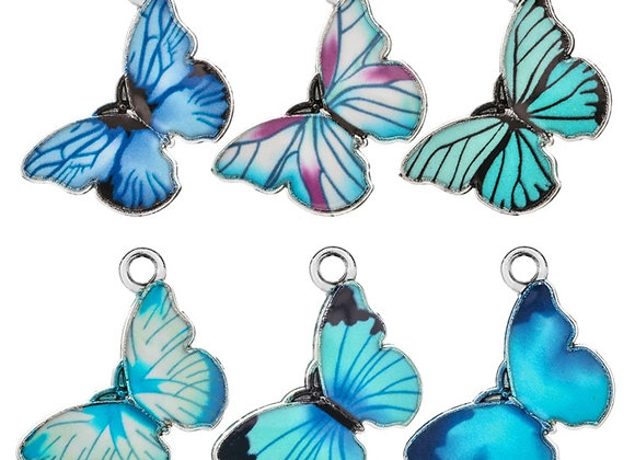 10pcs/Lot Colorful Blue Series Butterfly Charm Pendants