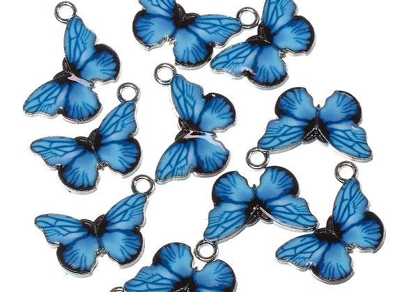 10PCS Butterfly Pendants Blue Enamel Charms