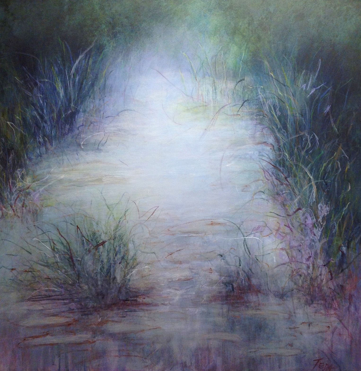 "Pond with Fog  36""x36""  acrylic"
