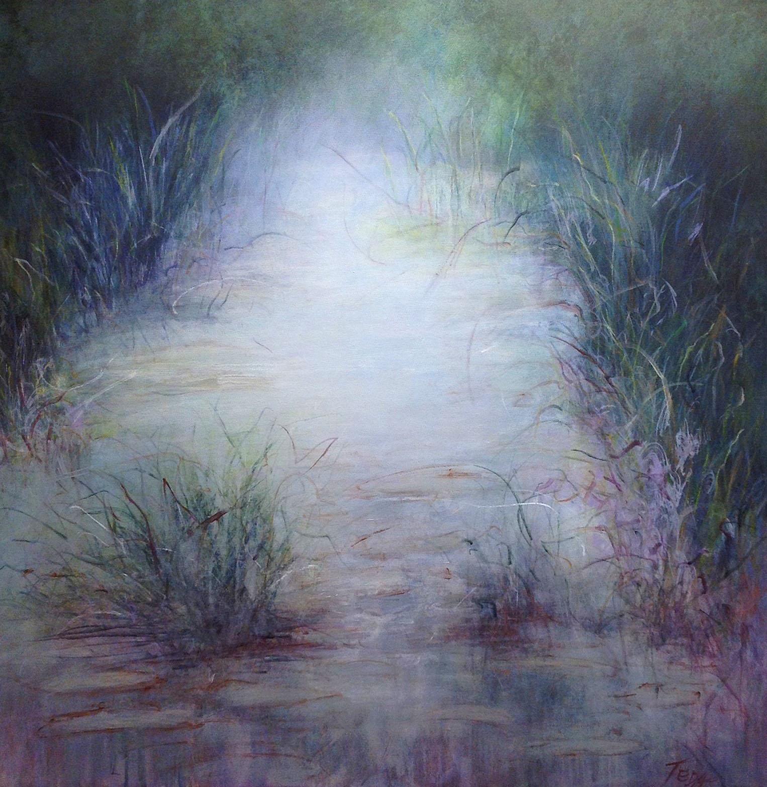 """Pond with Fog  36""""x36""""  acrylic"""