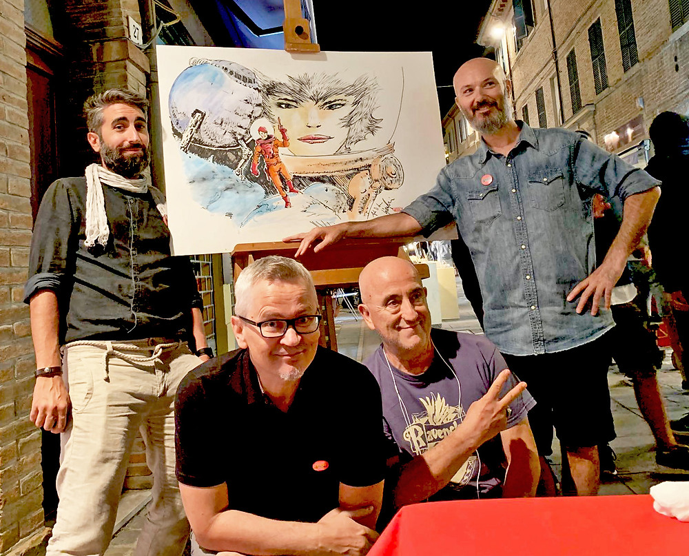 Upper left, Junior (Alan D'Amico). Upper right, Johnny (Gianluca Pagliarani). Center left, with glasses, James (Giovanni Barbieri).