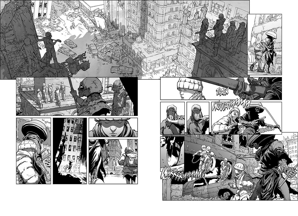 A double-spread page of our comic book miniseries ELECTRIC SAMURAI (unpublished).