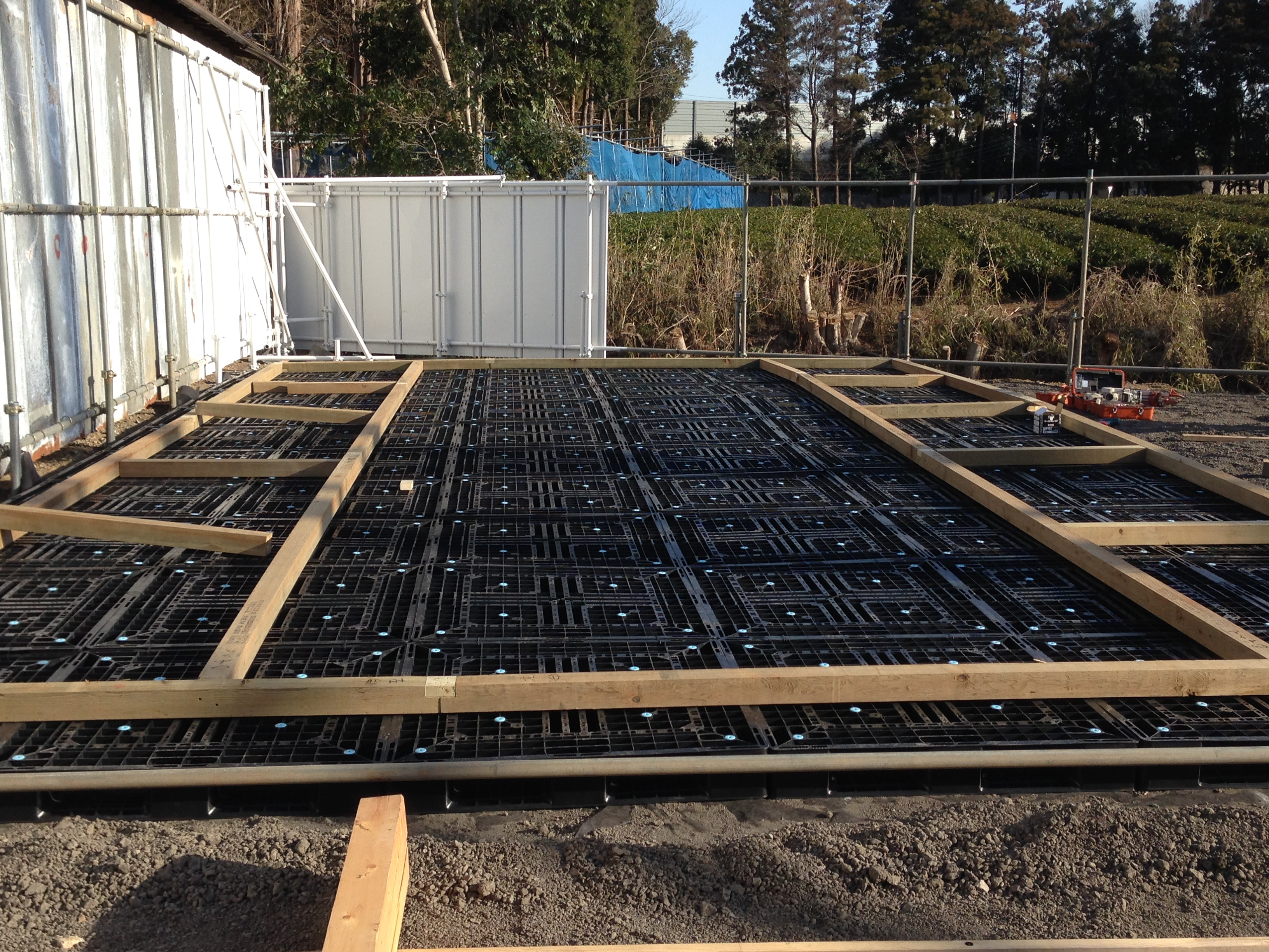 Laying greenhouse foundation