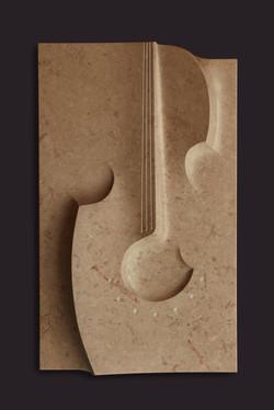 Violinen Relief, Kalkstein, 70 x 42 x 15cm