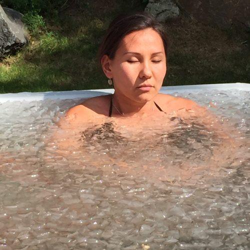 Karima enjoying an ice bath