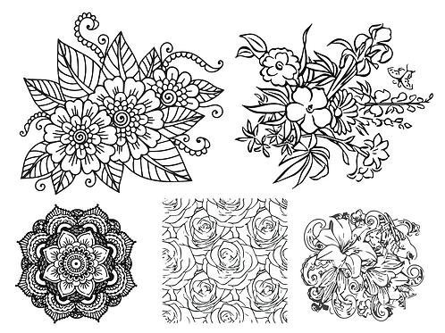 Flower Watercolor Coloring Page Bundle