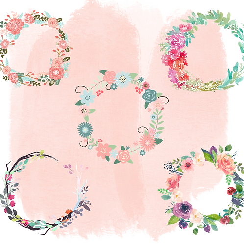 PRINT AND CUT Floral Wreaths