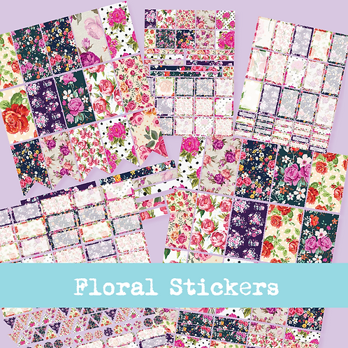 Purple Floral Stickers