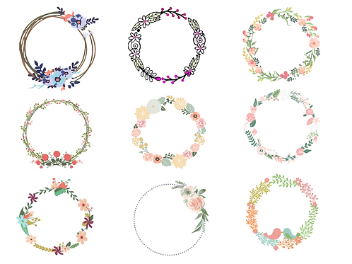 Cute Floral Wreath bundle