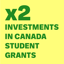x2 investments in Canada Student Grants