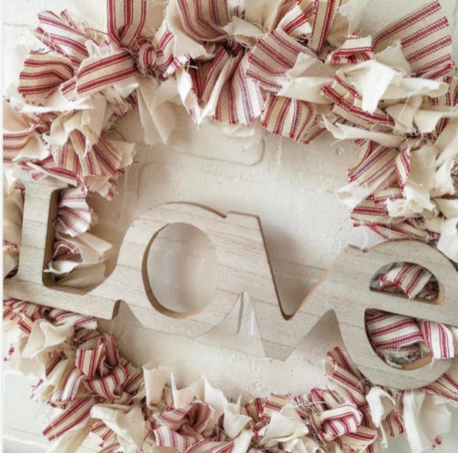 DIY Shabby Farmhouse Heart Rag Wreath Valentine's Day