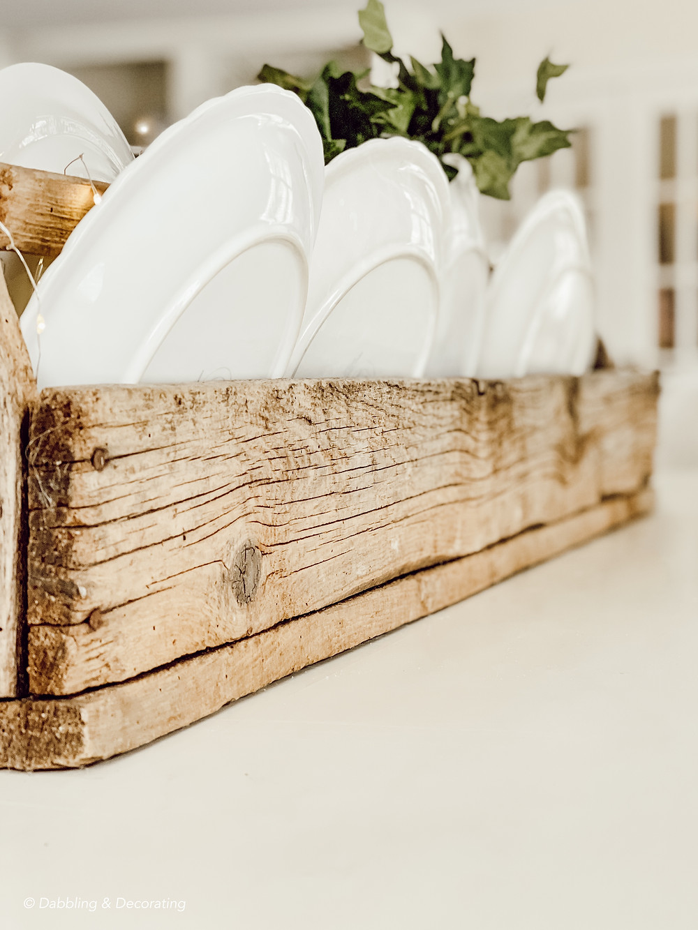 Thrifted Wooden Toolbox Centerpiece