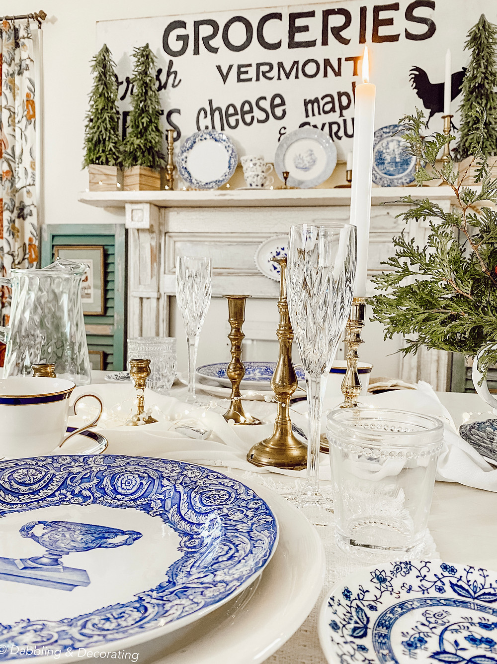 Collected blue and white antique tablesetting