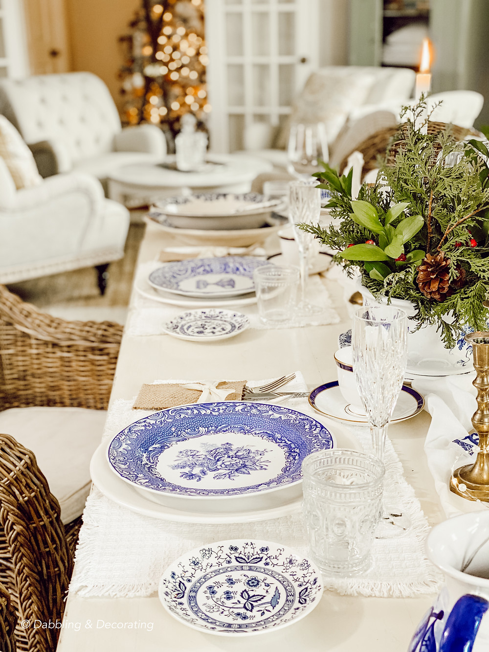 Collected Blue and White Antique Tablescape