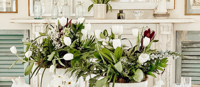 Antique Crocks & White Tulips