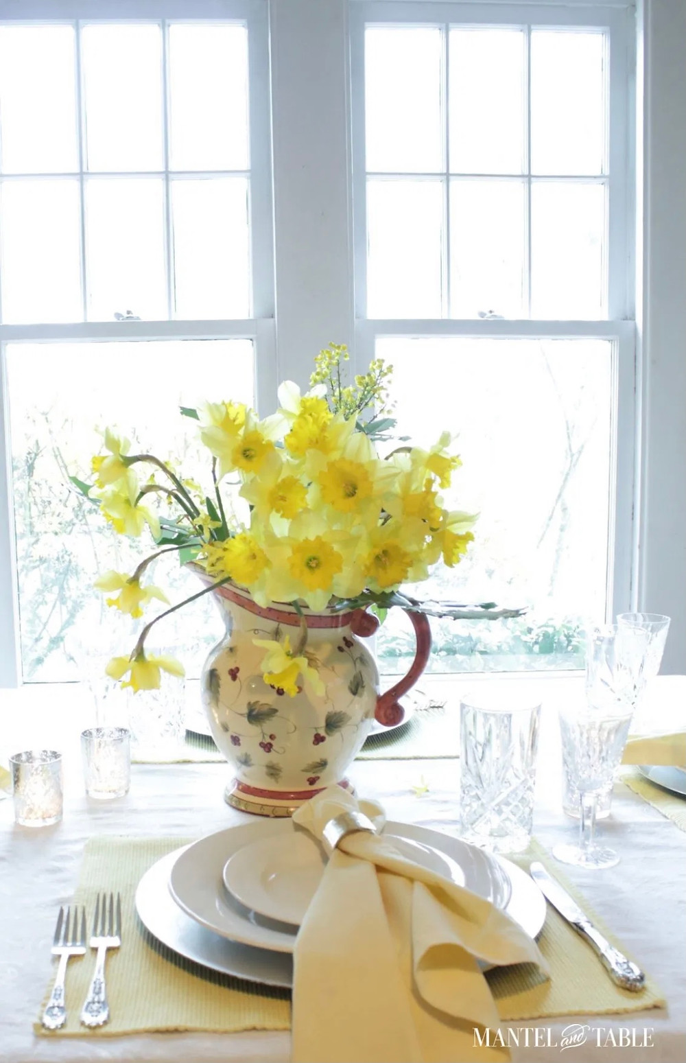 A Daffodil Table Setting on a Beautiful Snow Day