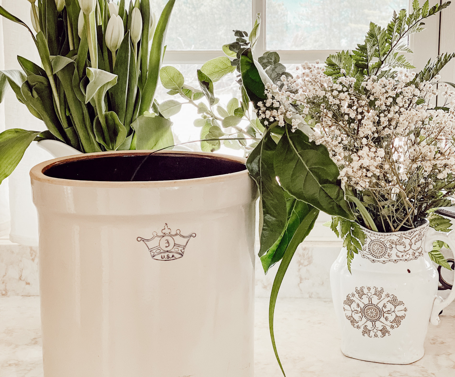 Antique Crocks and White Tulips