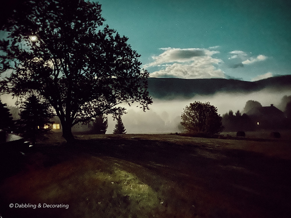 October Moon and Fog in Vermont