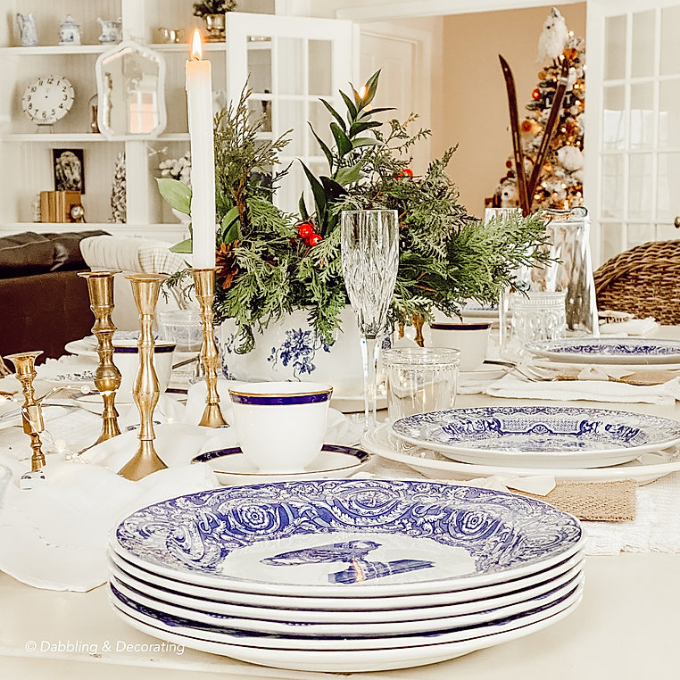 Collected Blue and White Antique Tablesc