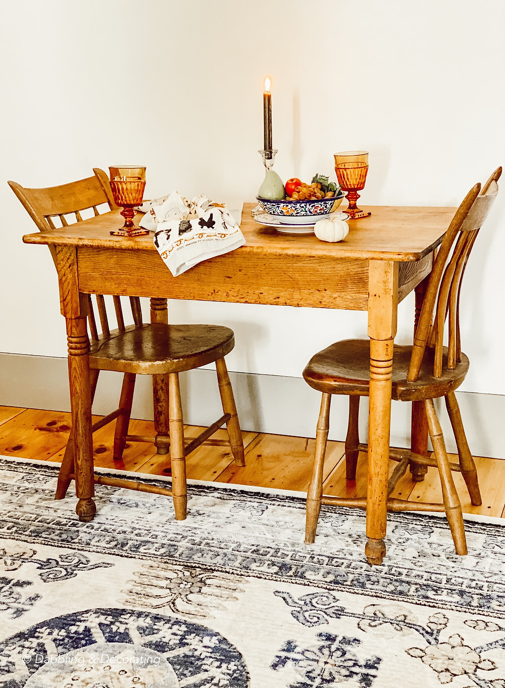 A Charming Antique Table and Chairs for Two