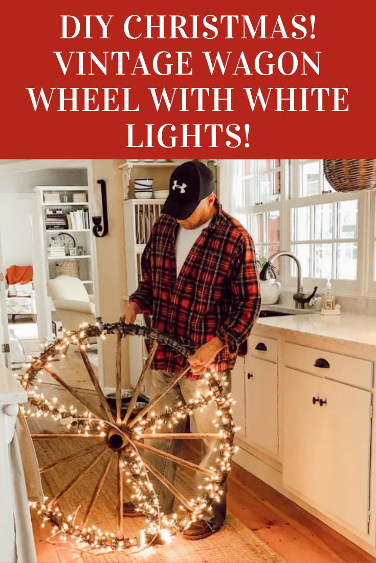 DIY Christmas Decoration! Vintage Wagon Wheel with White Lights!