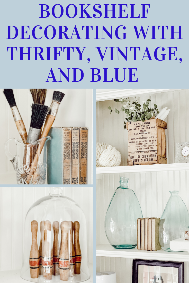 Bookshelf Decorating with Thrifty, Vintage, and Blue