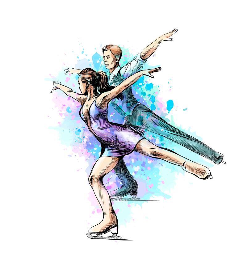 абстрактный-конькобежцы-спорта-зимы-пар-