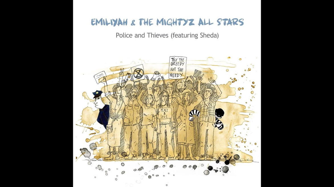Police and Thieves (feat. Sheda) - EMiliYAH and The MightyZ All Stars Original Version by Junior Murvin  Written by Junior Murvin and Lee 'Scratch' Perry Adapted by EMiliYAH and The MightyZ All Stars and Sheda Filmed at The Craftory, London Borough of Newham. Sound Recording at The Music Complex, Deptford. Produced by Stuart 'MightyZ' Inglis Vocals: EMiliYAH (lead and backing vocals) and Sheda (spoken word) Bass: Stuart 'MightyZ' Inglis Drums: Joel Sealy Keys: James Richardson Guitars: Clinton 'Rock' Jones and Bri Cotter  Video: Cameras: Tomasz Brajter, Lucyna Kaniecka and Carlos Thomas 1st Montage: Tomasz Brajter Illustration: Ania Pawlik Last Montage, lighting and illustration: Carlos Thomas Check out EMiliYAH and The MightZ All Stars on: www.emiliyahmightyz.com www.facebook.com/emiliyahmightyz #Witkiewicz #Emiliyah #Emilia Sheda: Holdapoetry@Gmail.com #holdapoetry