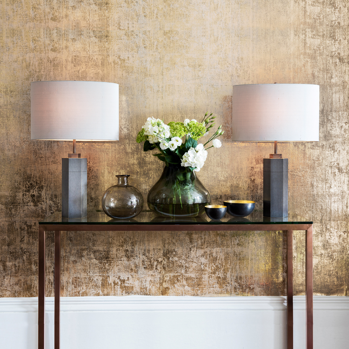 Bronze Stem Table Lamps w Birch S