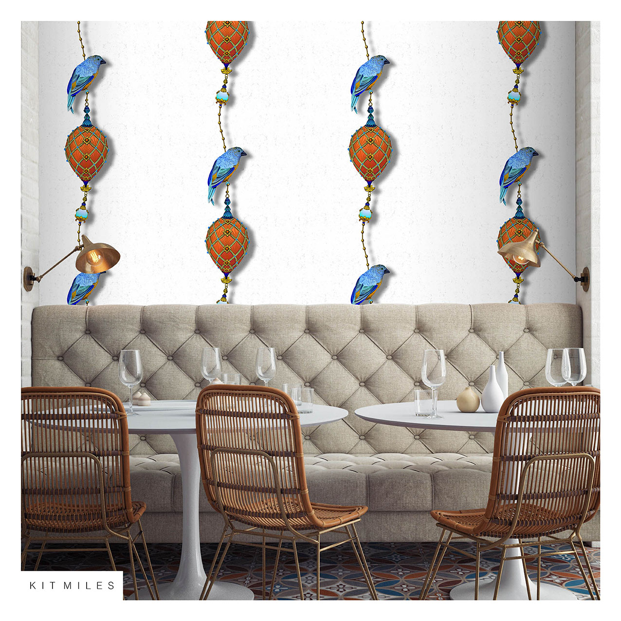Pendants and Ornamental Birds Orange and