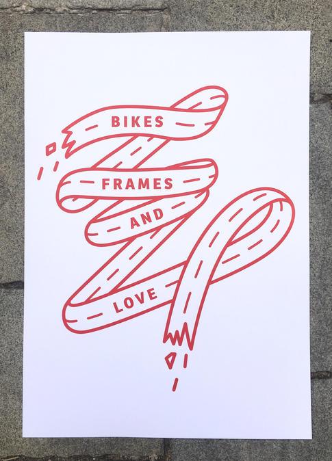 Bikes, Frames and Love červený