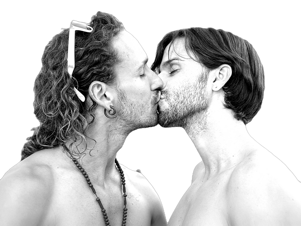 two men kissing on the lips