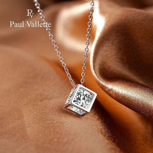 Paul Vallette - 時尚女士鏤空方形鑽石項鍊