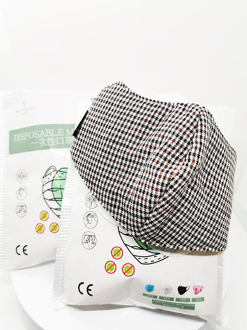 寶樂威 - 60片裝 BFE96% 口罩濾片附送成人布口罩一個(啡黑, 可以水洗和多次使用)