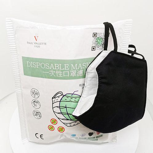寶樂威 - 60片裝 BFE96% 口罩濾片附送成人布口罩一個(黑色, 可以水洗和多次使用)