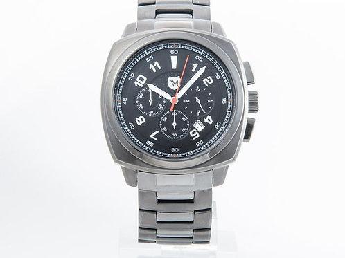 ANDREW MARC   Heritage Bomber Gunmetal Chronograph Watch