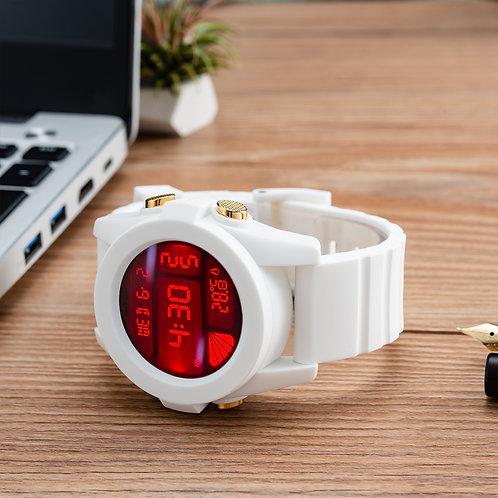Nixon – 白色膠帶液晶屏手表