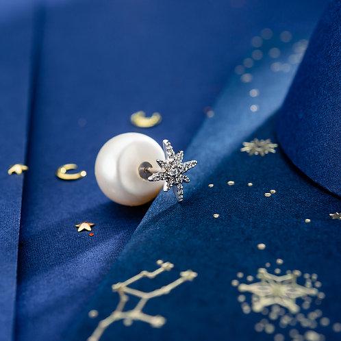 APM Monaco -MÉTÉORITES 純銀珍珠八角星耳環