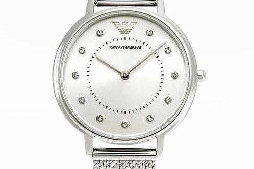 Emporio Armani   Crystal Silver Dial Ladies Watch