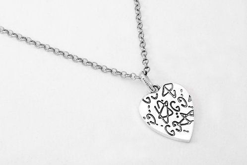 """GUCCI   """"Ghost & Heart"""" Necklace in Silver"""