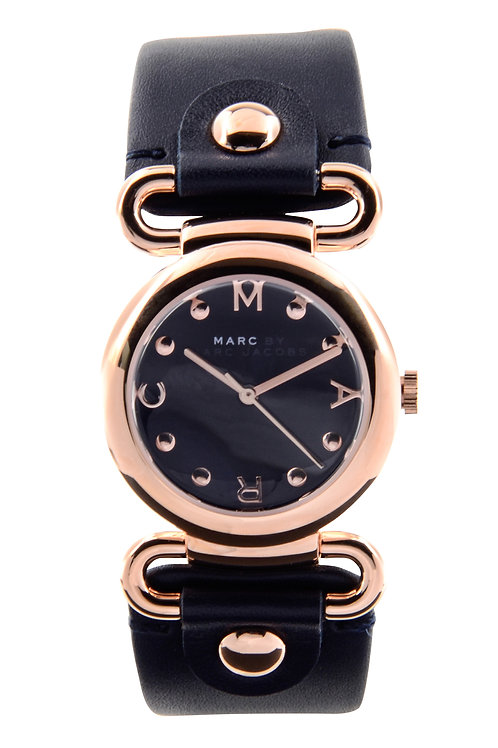 MARC JACOBS | Molly Rose Tone-Deep Blue Leather Strap Ladies Watch MBM1334