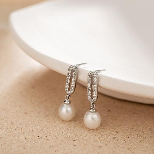 Paul Vallette - 鑲晶鑽淡水珍珠耳環