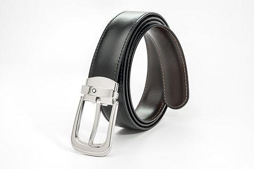 MONTBLANC | Horseshoe Pin Buckle Reversible Black/Brown Leather Belt 106603