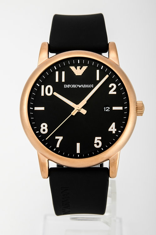 Emporio Armani | Mens Black Leather Watch