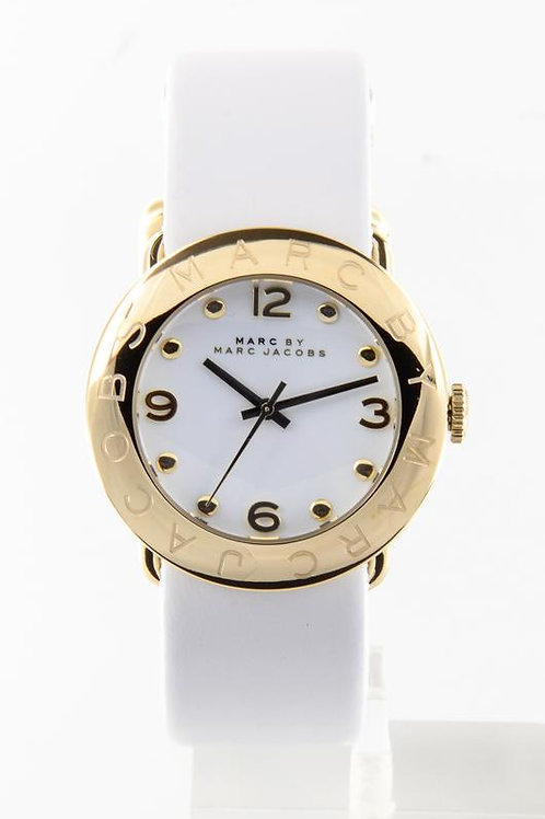 Marc by Marc Jacob | Amy White Dial Gold-tone White Leather Ladies Watch