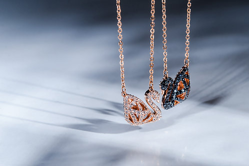 Swarovski - 雙色天鵝頸鏈+長鏈穿孔耳環