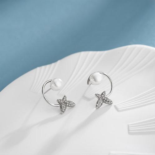 Paul Vallette - 鑲晶鑽蝴蝶造型珍珠耳環
