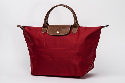 LONGCHAMP   Le Pliage Nylon Short Handle Bag Red (Medium)