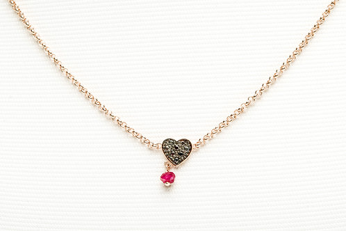 TOUS | Rose Vermeil Silver Motif Necklace with Spinel and Ruby